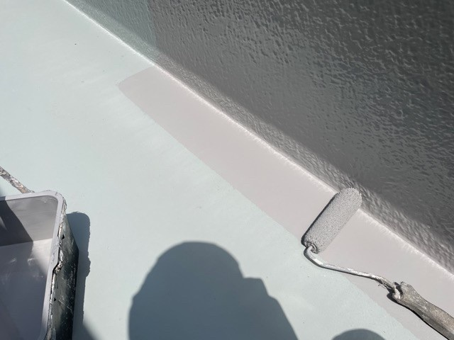 東京都墨田区Tマンション 無足場工法ロープアクセス ウレタン防水工事