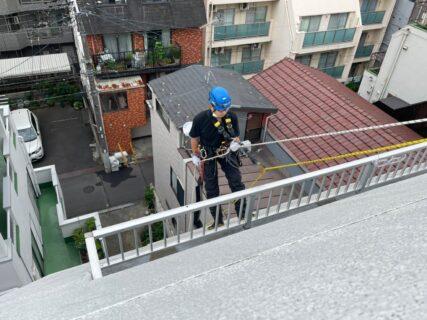 東京都墨田区Tマンション 無足場工法ロープアクセス高圧洗浄