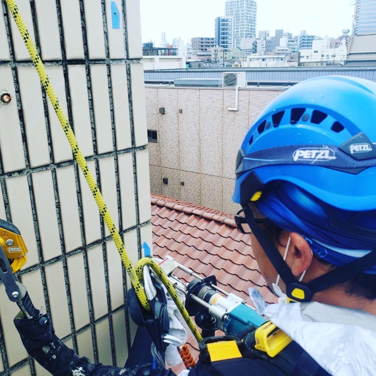 東京都中野区 無足場工法ロープアクセス タイル工事